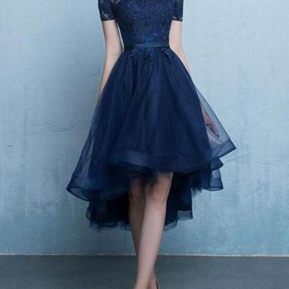 Chic Navy Blue Tulle High Low with ..