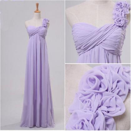 Charming One shoulder Purple Chiffon Prom Dress with Flowers, Purple Prom Dresses, One shoulder Prom Dress, Bridesmaid Dresses, Prom 2015