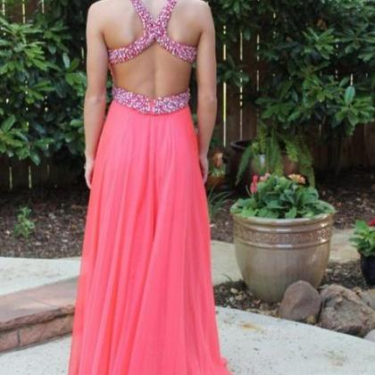 Custom made Handmade Sexy Cross Back Halter Neckline Floor Length Prom Gown, Prom Dresses , Formal Dresses 2015