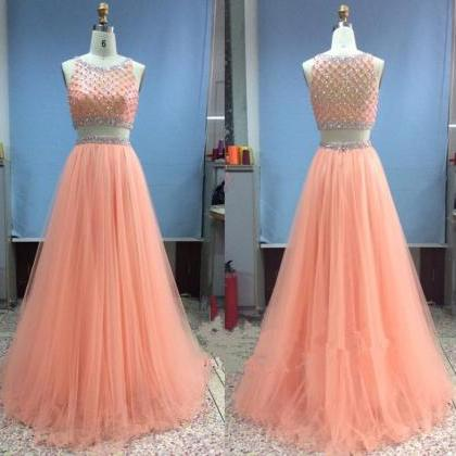 Pretty Tulle Long Beadings Two Pieces Light Coral Prom Gowns, Prom Dresses 2016, Evening Gowns, Evening Dresses, Formal Dresses