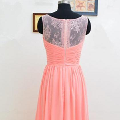 pretty light coral lace long simple prom dresses 2016