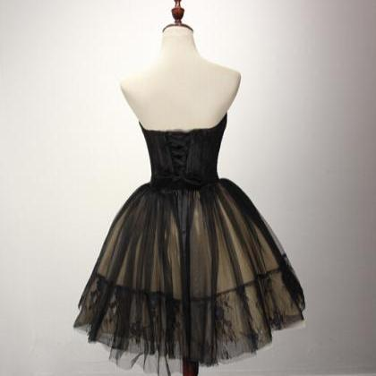 Cute Tulle Short Black Ball Gown Sw..