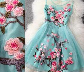 High Quality Pretty Blue Organza Dress with Embroidery, Blue Knee Length Dress with Embroidery