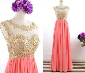 Handmade Gold Applique with Crystal Long Coral Prom Dresses 2015, Coral Open Back Formal Dresses, Long Chiffon Wedding Party Dress, Coral Long Prom Gown