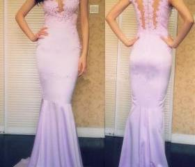 Charming Handmade Lavender Long Prom Dresses with Applique,Lilac Prom Dresses 2015, Evening Dresses, Formal Dresses