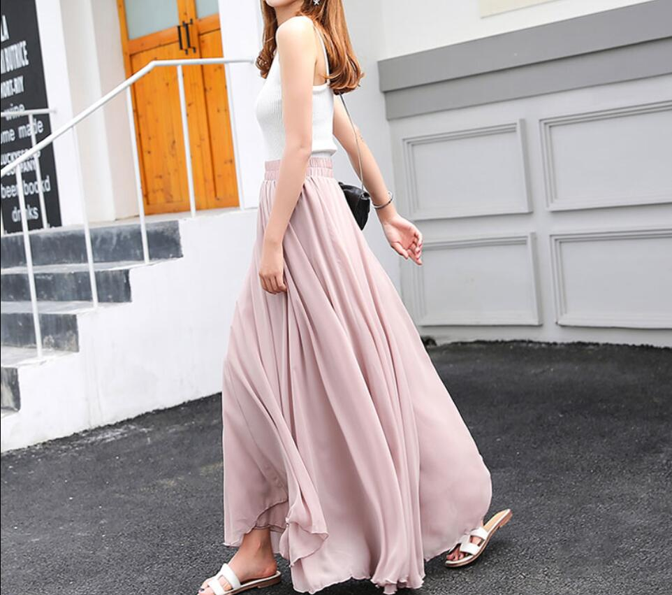 Fashionable Chiffon Long Skirts, Dark Pink Soft Skirt, Wine Red Skirts, Women Skirts in Stock