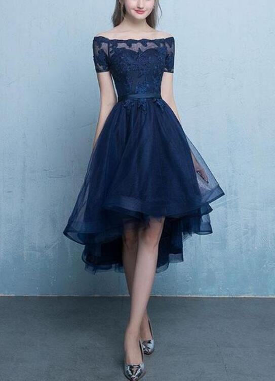 Chic Navy Blue Tulle High Low with Lace Applique Party Dresses, Blue Homecoming Dresses