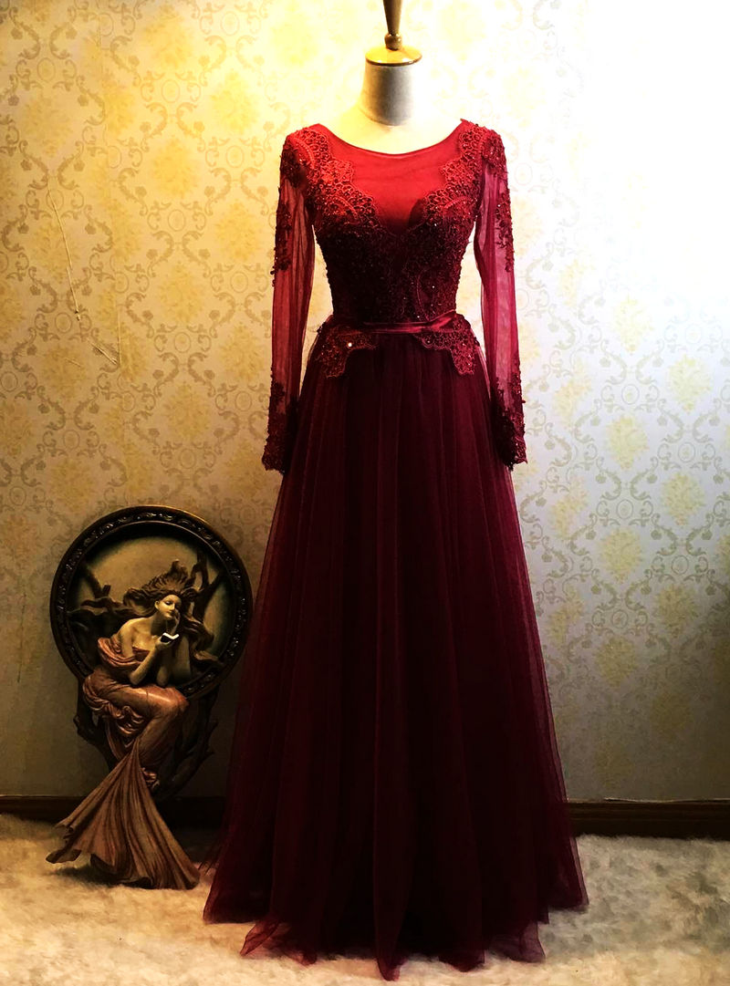 Beautiful Wine Red Long Sleeves Wedding Party Dress, Tulle Bridesmaid Dress 2019