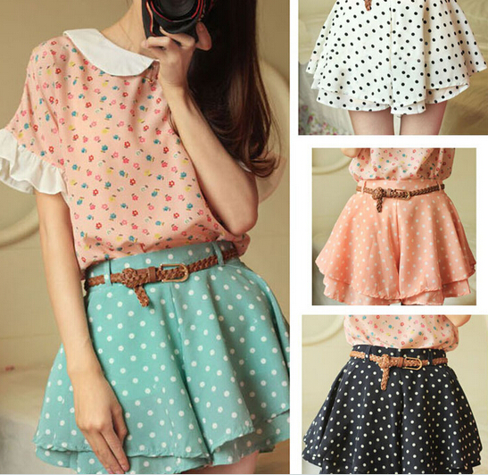 Lovely Summer Chiffon Mini Dot pantskirt, Pantskirt