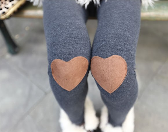 Cute Heart Patched Leggings for Autumn 2014, Grey Leggings, Grey Tights