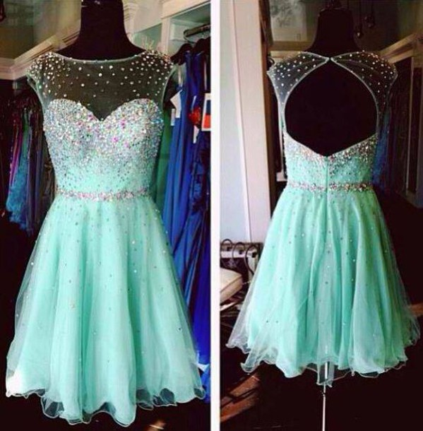 Sparkle Knee Length Sweetheart Tulle and Chiffon Prom Dresses 2015 with Beadings, Green Mini Prom Dresses, Homecoming Dress, Graduation Dresses