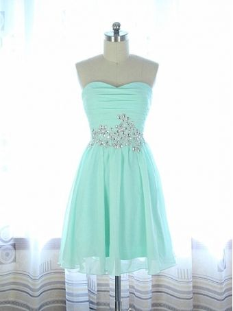 handmade simple and cute chiffon sweetheart prom dresses