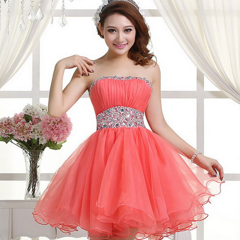 Cute Handmade Coral/Watermelon Ball Gown Short Prom Dresses 2016 ...