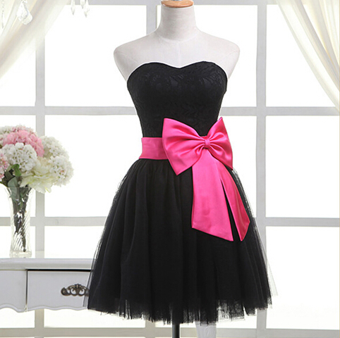cute black tulle formal dress with bow cute short dresses
