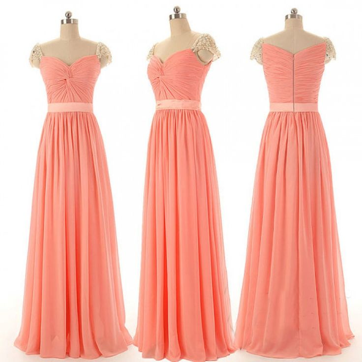 Simple Long Light Coral Cap Sleeve Bridesmaid Dresses, Bridesmaid ...