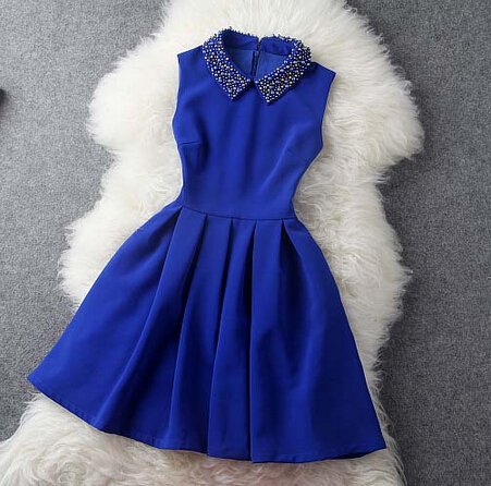 Fashion Blue Blue Dress With Collar Women Blue Dress In Stock ...