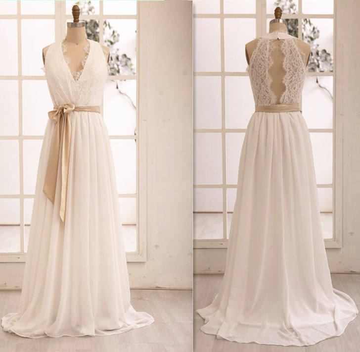 Gorgeous V-neckline Chiffon and Lace White Prom Gowns, Handmade Wedding Dresses, Evening Gowns 2016