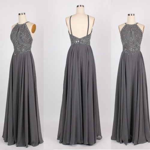 High Quality Handmade Grey Halter Backless Beaded Prom ...