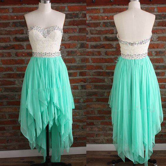 lovely high low mint green chiffon prom dresses