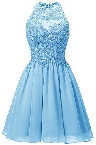 Cute Blue Short Homecoming Dresses, Chiffon Halter Party Dresses with Lace Applique, Sweet 16 Dresses
