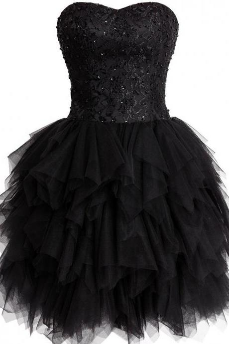 Cute Black Strapless Ruffled Homecoming Cocktail Dress, Short Prom Dresses, Lovely Party Dresses