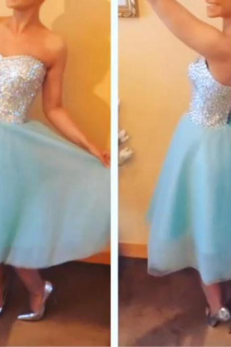 Sequins and Tulle Short Party Dresses, Cute Formal Dresses, Tea Length Party Dresses