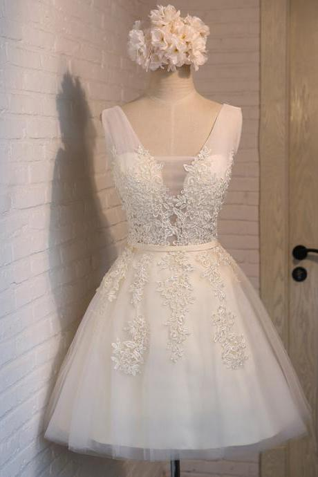 White Tulle and Lace Graduation Dresses, Short Party Dresses, White Formal Dresses