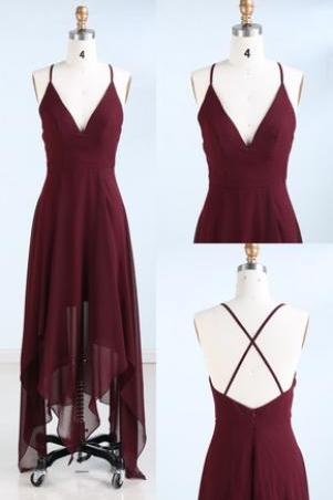 Maroon Straps V-neckline High Low Homecoming Dresses, Chiffon Homecoming Dresses, Teen Formal Dresses