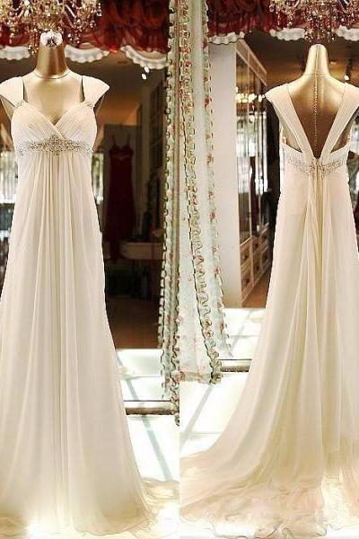 Pretty Handmade High Waist Ivory Chiffon Party Gowns, Formal Gowns, High Quality Prom Dresses