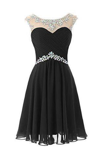Beaded Embellished Black Chiffon Ruched Sweetheart Illusion Short A-Line Homecoming Dress, Little Black Dress
