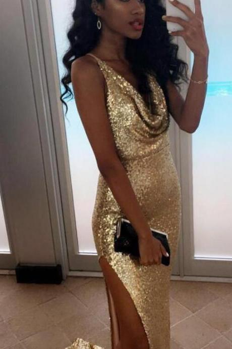 2017 Gold Sequins Mermaid Prom Dresses,Straps Prom Long Dresses,Slit Long Formal Dresses