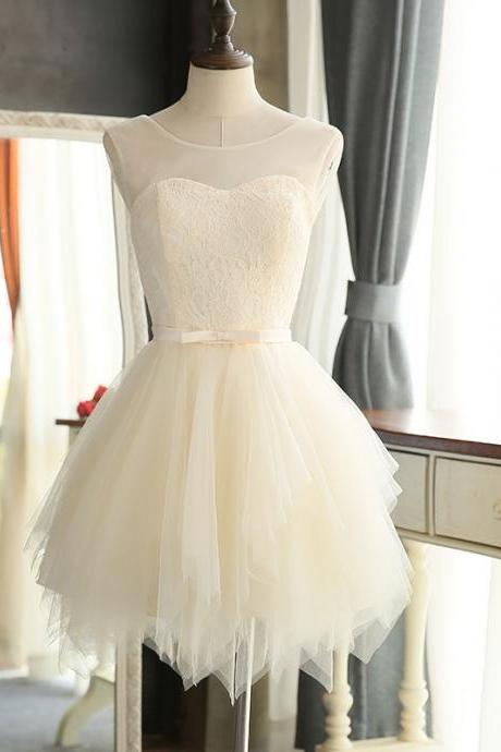 Ivory Homecoming Dress,Short Prom Dresses 2017,Tulle and Lace Graduation Dresses