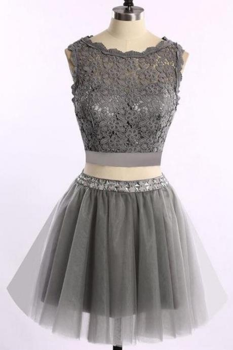 Grey Two Piece Homecoming Dresses, Lace and Tulle Prom Dresses, Cute Formal Dresses