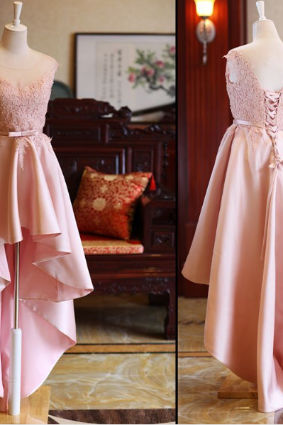 Cute High Low Homecoming Dresses, Lace-up Formal Dresses, Lovely Satin Pink Prom Dresses 2018
