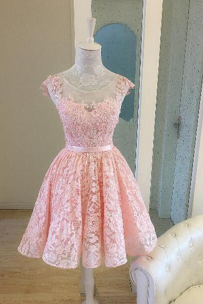 Cute Pink Homecoming Dresses, Lace-Up High Low Prom Dresses, Short Formal Dresses