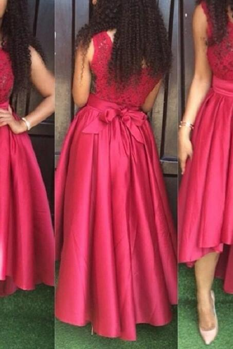 Stylish Red Satin and Lace High Low Party Dresses, Red Party Gowns, High Low Prom Dresses