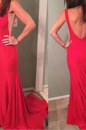 Sexy Mermaid Red Long Prom Dresses 2018, Red Backless Party Gowns, Formal Gowns