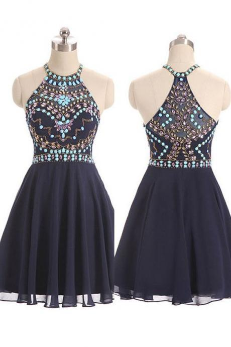 New Style Beautiful Beaded Short Navy Blue Halter Prom Dresses, Chiffon Short Party Dresses, Homecoming Dresses