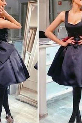 Adorable Ball Black Homecoming Dresses with Bow, Cute Short Party Dresses, Teen Formal Dresses