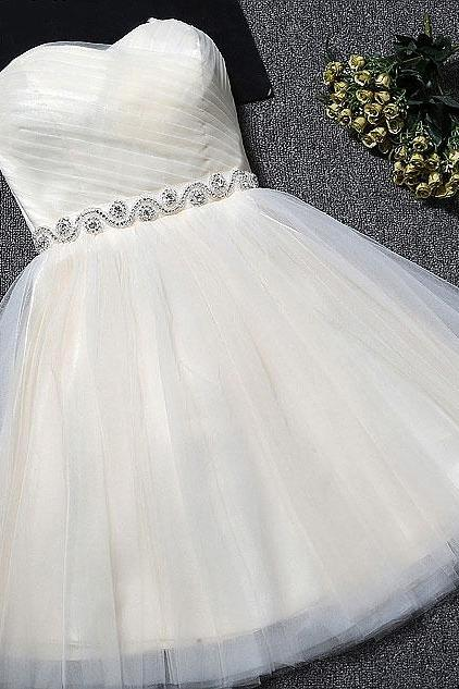 Beautiful Simple Ivory Tulle Lace-up Graduation Dresses, Short Prom Dresses, New Style Homecoming Dresses for Sale