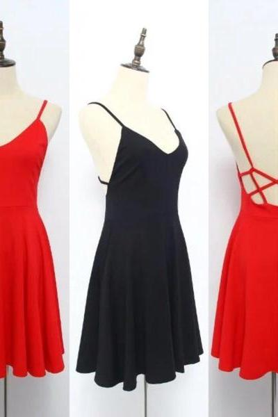 Lovely Straps Backless Teen Summer Dresses, Cute Short Women Dresses, Sexy Club Dresses