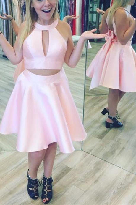 Two Piece Satin Short Homecoming Dresses, Cute Party Dresses, Lovely Prom Dresses