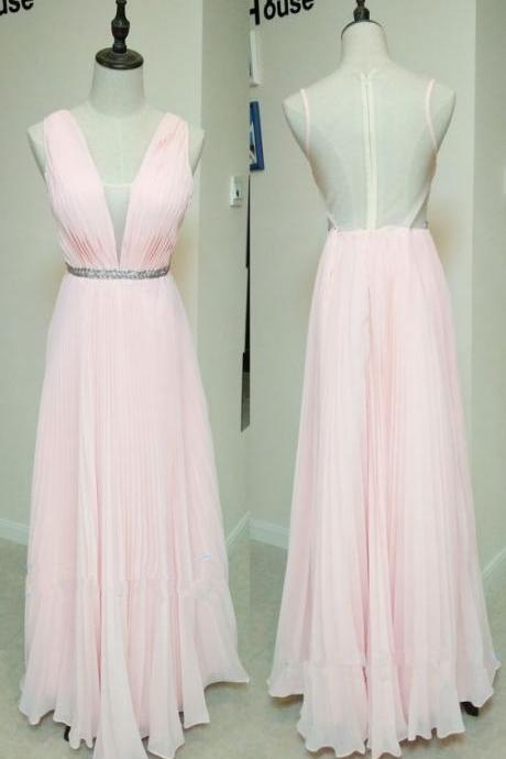 Elegant Light Pink Long Chiffon V-neckline Bridesmaid Dresses, Pink Party Gowns, Formal Dresses