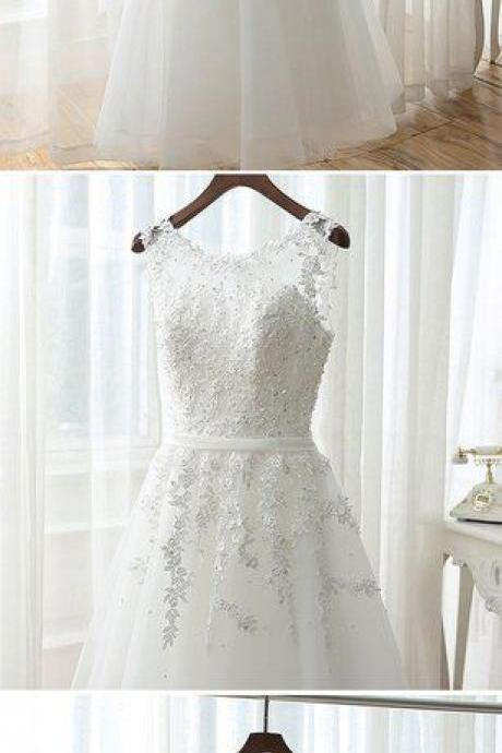 Lovely Tea Length White Tulle and Lace Round Neckline Party Dresses, White Formal Dresses, Tea Length Prom Dresses