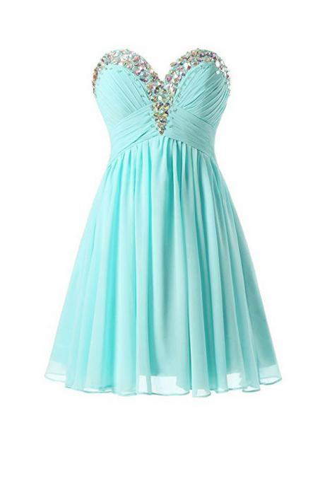 Sweetheart Beaded Mint Blue Chiffon Knee Length Prom Dresses, Short Homecoming Dresses, Cute Teen Fashion Formal Dresses