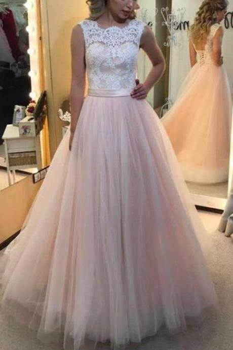 Pink Tulle Sweep Train with White Lace Top Prom Gowns, Wedding Party Dresses, Evening Gowns for Women