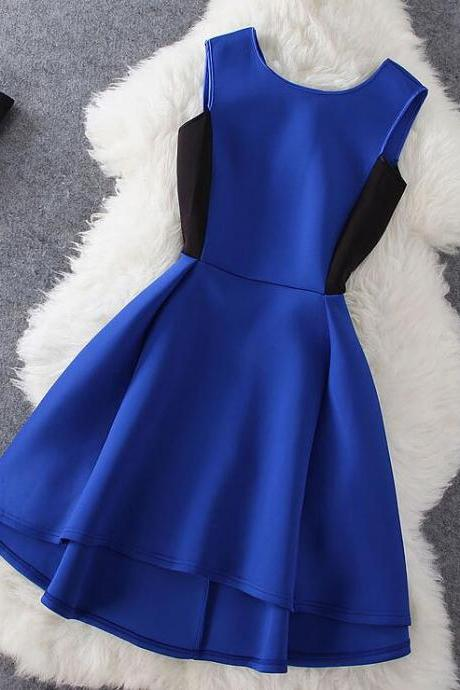Pretty Royal Blue Short High Low V-back Summer Party Dresses in Stock, Blue Women Dresses