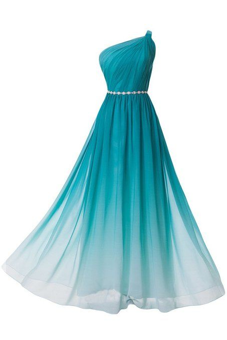 Charming Gradient Chiffon Evening Dress Featuring Ruched One Shoulder Bodice with Beaded Embellished Belt, Gradient Prom Dresses, Party Dresses