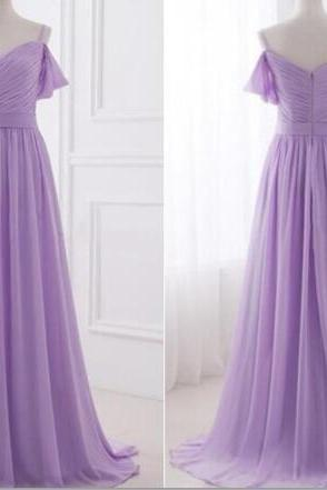 Spaghetti Straps Lavender Long Bridesmaid Dresses, Chiffon Simple Prom Dresses, Evening Gowns