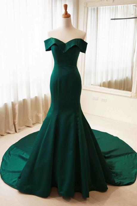 Green Mermaid Gorgeous Satin Gowns, Off Shoulder Evening Dresses, Prom Dresses 2018